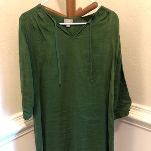 Green linen long sleeve dress